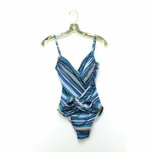 Merona Blue Striped Molded Cup Wrap Swimsuit